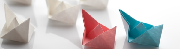 Colourful paper boats